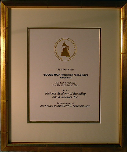 Grammy Nomination - Aerosmith 'Boogie Man'